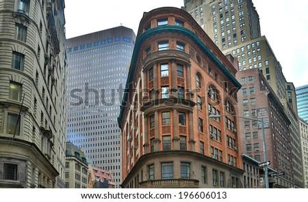 New York, Manhattan, skyscrapers, cityscapes, windows, glass, concrete, - stock photo