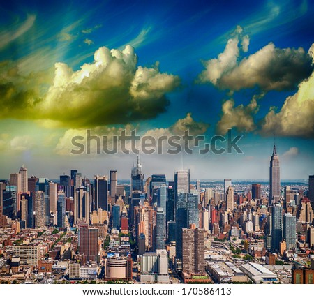 New York. Manhattan view from helicopter with city tall skyscrapers. - stock photo