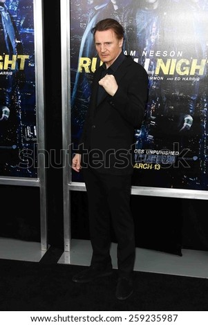 "NEW YORK-MAR 9: Actor Liam Neeson attends the premiere of ""Run All Night"" at AMC Loews Lincoln Square on March 9, 2015 in New York City. - stock photo"