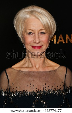 "NEW YORK-MAR 30: Actress Helen Mirren attends the ""Woman In Gold"" New York premiere, in conjunction with The Carlyle and ef+facto at the Museum of Modern Art on March 30, 2015 in New York City. - stock photo"