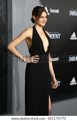 """NEW YORK-MAR 16: Actress Shailene Woodley attends the U.S. premiere of """"The Divergent Series: Insurgent"""" at the Ziegfeld Theatre on March 16, 2015 in New York City. - stock photo"""