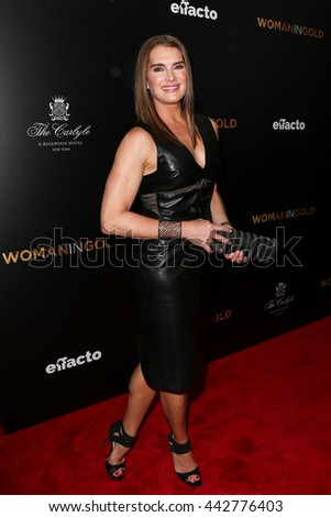 """NEW YORK-MAR 30: Model Brooke Shields attends the """"Woman In Gold"""" New York premiere, in conjunction with The Carlyle and ef+facto at the Museum of Modern Art on March 30, 2015 in New York City. - stock photo"""