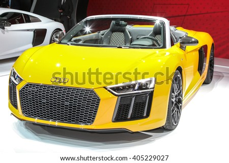 NEW YORK - March 23: A Audi R8 Spyder at the 2016 New York International Auto Show during Press day,  public show is running from March 25th through April 3, 2016 in New York, NY. - stock photo
