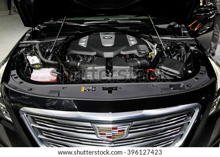 NEW YORK - March 23: A Cadillac CT6 hood open and exhibit at the 2016 New York International Auto Show during Press day,  public show is running from March 25th through April 3, 2016 in New York, NY. - stock photo