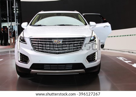 NEW YORK - March 23: A Cadillac XT5 exhibit at the 2016 New York International Auto Show during Press day,  public show is running from March 25th through April 3, 2016 in New York, NY. - stock photo