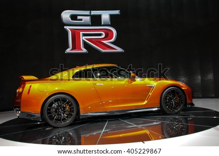 NEW YORK - March 23: A FNissan GT-R unveiled at the 2016 New York International Auto Show during Press day,  public show is running from March 25th through April 3, 2016 in New York, NY. - stock photo