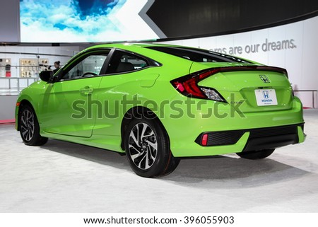 NEW YORK - March 23: A Honda Civic exhibit at the 2016 New York International Auto Show during Press day,  public show is running from March 25th through April 3, 2016 in New York, NY. - stock photo