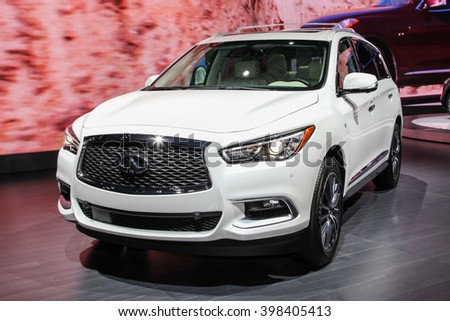 NEW YORK - March 23: A Infiniti QX60 exhibit at the 2016 New York International Auto Show during Press day,  public show is running from March 25th through April 3, 2016 in New York, NY. - stock photo