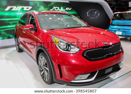 NEW YORK - MARCH 23: A KIA Soul Nira  at the 2016 New York International Auto Show during Press day,  public show is running from March 25th through April 3, 2016 in New York, NY. - stock photo
