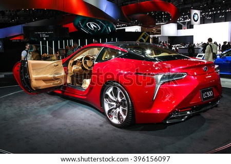 NEW YORK - March 23: A Lexus LC 500 exhibit at the 2016 New York International Auto Show during Press day,  public show is running from March 25th through April 3, 2016 in New York, NY. - stock photo