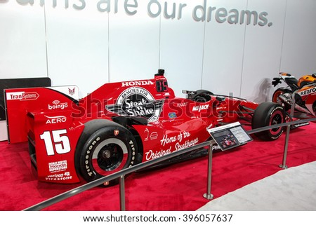 NEW YORK - March 23: A Rahall Dallara Honda Indy Car exhibit at the 2016 New York International Auto Show during Press day, public show is running from March 25th through April 3, 2016 in New York, NY - stock photo