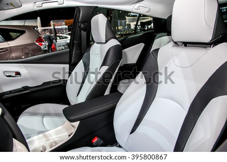 NEW YORK - March 23: A Toyota Prius interior on exhibit at the 2016 New York International Auto Show during Press day,  public show is running from March 25th through April 3, 2016 in New York, NY. - stock photo