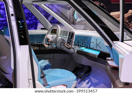NEW YORK - MARCH 23: A Volkswagen BUDD-e GT Active Concept shown at the 2016 New York International Auto Show ,  public show is running from March 25th through April 3, 2016 in New York, NY. - stock photo