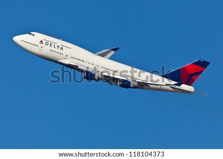 NEW YORK - MARCH 20:Delta Boeing 747 Taking off from JFK in New York, USA on March 20, 2012 Delta Air Lines is one of the major American airlines that serves domestic and international destinations - stock photo