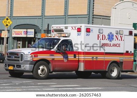 NEW YORK - MARCH 19, 2015: FDNY Ambulance in Brooklyn. FDNY is the largest combined Fire and EMS provider in the world  - stock photo