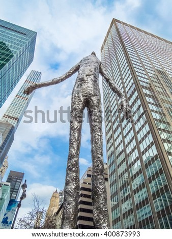 NEW YORK-MARCH 31- Looking Up a very tall modern art sculpture by Tom Friedman on Park Avenue, March 31 2016 in New York City. - stock photo