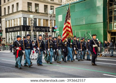 NEW YORK-MARCH 17-Soldiers dressed in vintage 19th century uniforms in the St Patricks Day Parade  on March 17 2016 in New York City. - stock photo