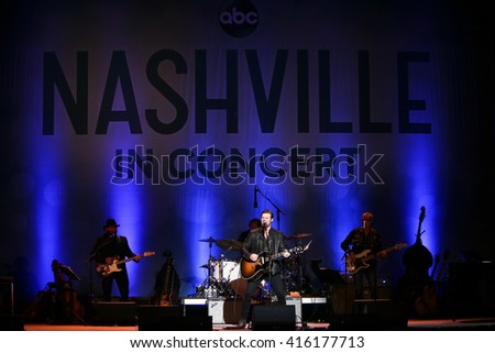 "NEW YORK-MAY 5: Actor/singer Chris Carmack performs onstage during ABC's ""Nashville"" US Tour at the Theater at Madison Square Garden on May 5, 2016 in New York  City. - stock photo"