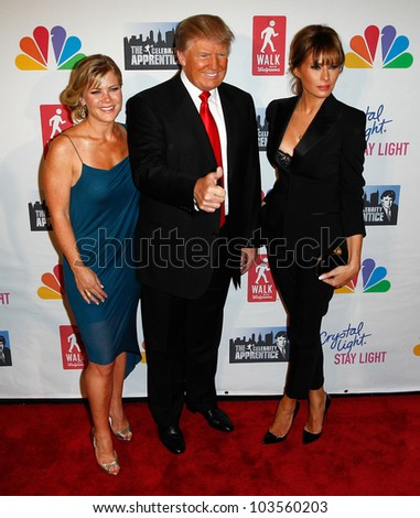 """NEW YORK-MAY 20: Allison Sweeney, Donald Trump and wife Melania attend the """"Celebrity Apprentice"""" Live Finale at the American Museum of Natural History on May 20, 2012 in New York City. - stock photo"""