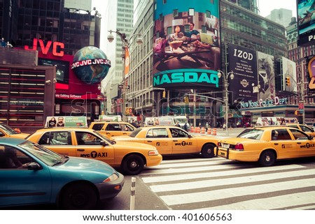 NEW YORK - MAY 26 2009: Time square with yellow taxi, New York, USA - stock photo