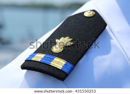 NEW YORK - MAY 26, 2016: US Navy Shoulder Board Warrant Officer 2 Ordnance Technician in New York - stock photo