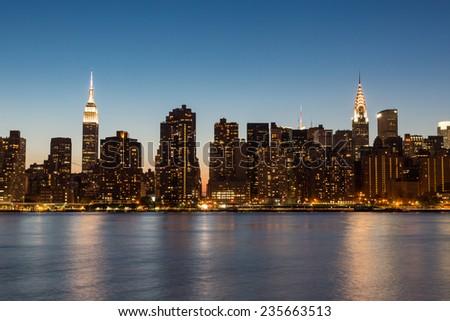 New York Midtown Skyline at Dusk - stock photo