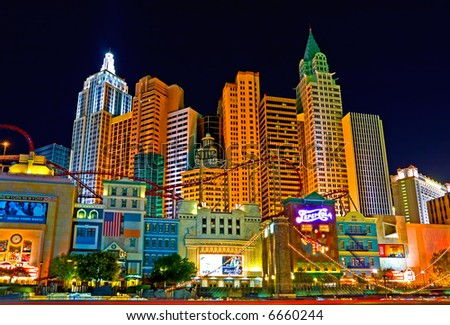 New York New York in Las Vegas at night - stock photo