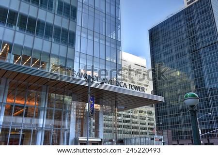NEW YORK, NEW YORK - JANUARY 10, 2015: 1 Bryant Park, Bank of America Tower, New York. - stock photo