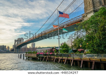 New York, New York - 1 July 2016: The River Cafe nestled under the Brooklyn Bridge in New York City. - stock photo