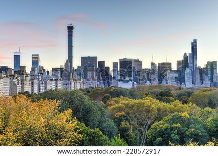 NEW YORK, NEW YORK - NOVEMBER 2, 2014: Aerial View of Central Park in the autumn, New York City. - stock photo
