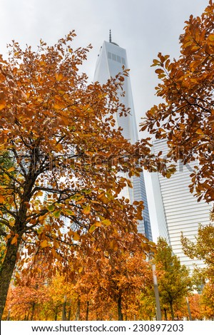 NEW YORK, NEW YORK - NOVEMBER 8, 2014: Freedom Tower in autumn in Lower Manhattan. One World Trade Center is the tallest building in the Western Hemisphere and the third-tallest building in the world. - stock photo