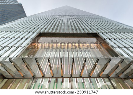 NEW YORK, NEW YORK - NOVEMBER 8, 2014: Freedom Tower in Lower Manhattan. One World Trade Center is the tallest building in the Western Hemisphere and the third-tallest building in the world. - stock photo