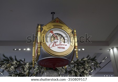 NEW YORK, NEW YORK, USA - DECEMBER 10: Believe meter located inside Macy's department store during Christmas season.  Taken December 10, 2015 in NY. - stock photo