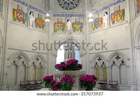NEW YORK, NEW YORK, USA - DECEMBER 22: Fountain inside Saint John the Divine Church. Taken December 22, 2015 in New York. - stock photo