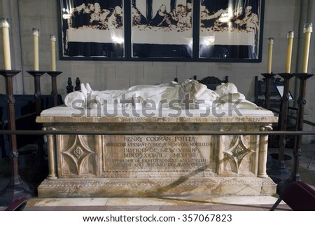 NEW YORK, NEW YORK, USA - DECEMBER 22: Tomb of assistant Bishop Henry Codman Potter inside  Saint John the Divine Church. Taken December 22, 2015 in New York. - stock photo