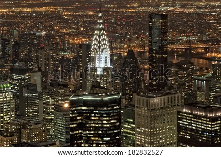 New York night view panorama cityscape - stock photo