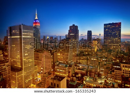 New York nighttime skyline and Empire State Building - stock photo