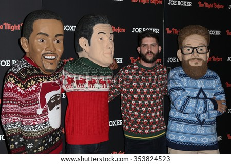 """NEW YORK-NOV 16: Director Jonathan Levine (2nd R) and walkabouts attend the screening of Columbia Pictures' """"The Night Before"""" at Landmark Sunshine Theater on November 16, 2015 in New York City. - stock photo"""