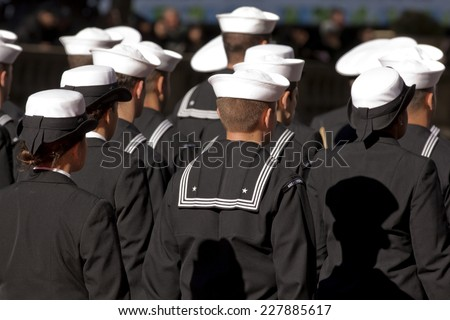 NEW YORK - NOV 11, 2013: US Navy sailors from the USS New York march during the 2013 America's Parade held on Veterans Day in New York City on November 11, 2013. - stock photo