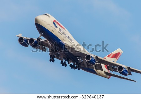NEW YORK - NOVEMBER 3: Boeing 747 British Airways takes off from JFK in New York, NY on November 3, 2013. British Airways is one of the most recognised airlines and a member of the oneworld alliance. - stock photo
