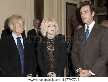 NEW YORK - NOVEMBER 5: Elie Wiesel, Cyndi Lauper, Bob Woodruff attend Lenox Hill hospital Autumn ball, award ceremony and fundraising to hurricane SAndy victims in Waldorf Astoria on Nov 5 2012 in NYC - stock photo