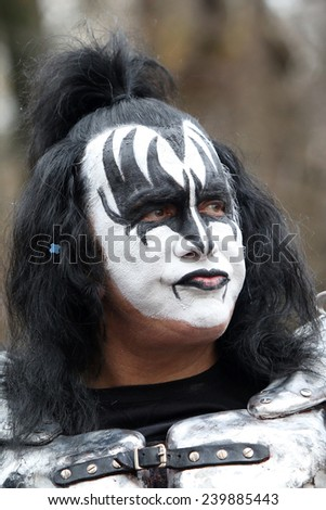 NEW YORK - NOVEMBER 27: Gene Simmons of KISS appears at the 88th Annual Macy's Thanksgiving Day Parade on November 27, 2014 in New York City. - stock photo