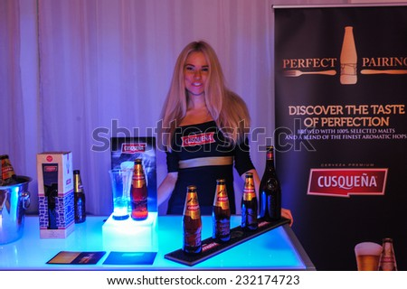 NEW YORK - NOVEMBER 19: General atmosphere and beer sponsors booth at the Peru Expo presentation at Metropolitan Pavilion 125W 18th Street during Peru Moda on November 19, 2014 in NYC.  - stock photo