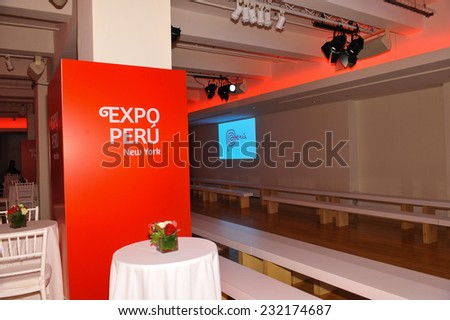NEW YORK - NOVEMBER 19: General atmosphere and guests attends Peru Expo presentation at Metropolitan Pavilion 125W 18th Street during Peru Moda on November 19, 2014 in NYC.  - stock photo