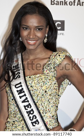 NEW YORK - NOVEMBER 17: Miss Universe Leila Lopes attends Fashion Forward benefiting the gay men's health crisis at the Metropolitan Pavilion on November 17, 2011 in New York City. - stock photo