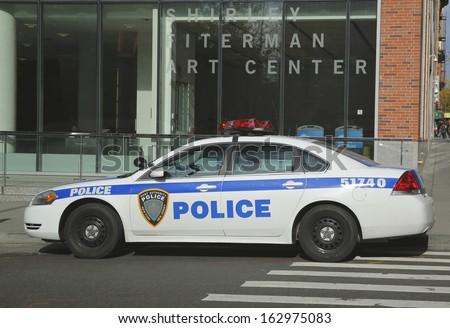 NEW YORK - NOVEMBER 10 Port Authority New York New Jersey car providing security in World Trade Center area on November 10, 2013.  - stock photo