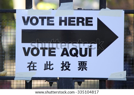 NEW YORK - NOVEMBER 3, 2015: Signs at the voting site in New York.The Voting Rights Act of 1965 is a national legislation in the United States that prohibits discrimination in voting - stock photo