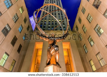 New York - November 8, 2015: The Atlas Statue is a bronze statue in Rockefeller Center in midtown Manhattan, New York City. The sculpture is of the Ancient Greek Titan Atlas holding the heavens. - stock photo