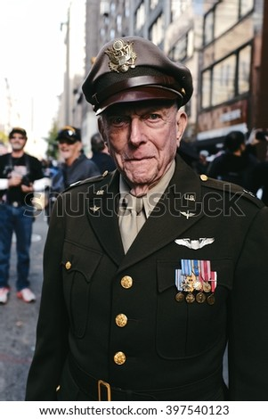 New York, NY -  11/15/2015: A portrait of a decorated World War 2 Veteran at the Americas Parade in NYC. - stock photo