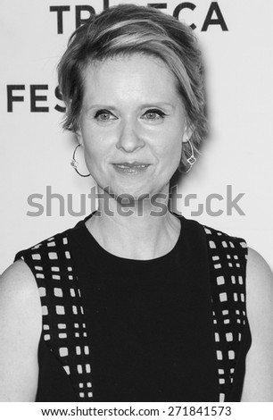 NEW YORK, NY - APRIL 16: Actress Cynthia Nixon attends the premiere of 'Adderall Diaries' during the 2015 Tribeca Film Festival at BMCC Tribeca PAC - stock photo